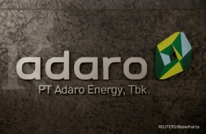 FILE PHOTO: The logo of PT Adaro Energy as seen at PT Adaro Energy headquarters in Jakarta, Indonesia, October 20, 2017. REUTERS/Beawiharta/File Photo