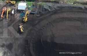 Operator mengoperasikan alat berat bekerja di terminal batubara Pelabuhan Teluk Bayur, Padang, Sumatera Barat, Rabu (9/1/2019).