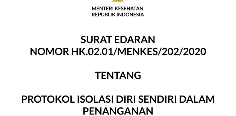 SURAT EDARAN  NOMOR HK.02.01/MENKES/202/2020