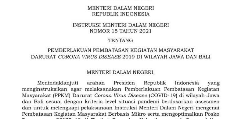 Mendagri Terbitkan Instruksi tentang PPKM Darurat Jawa-Bali